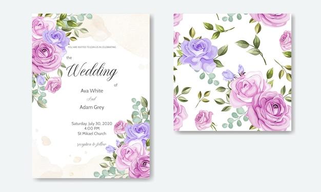 Hochzeitseinladungskarten-schablonensatz mit schönen nahtlosen musterblumenblättern