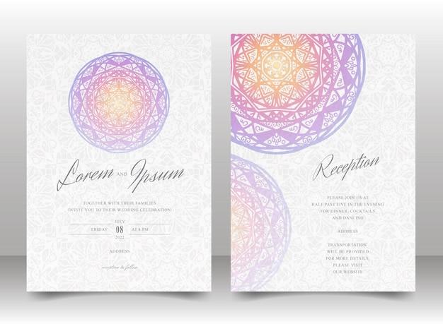 Hochzeitseinladungskarten-schablonenset mit buntem mandala und nahtlos