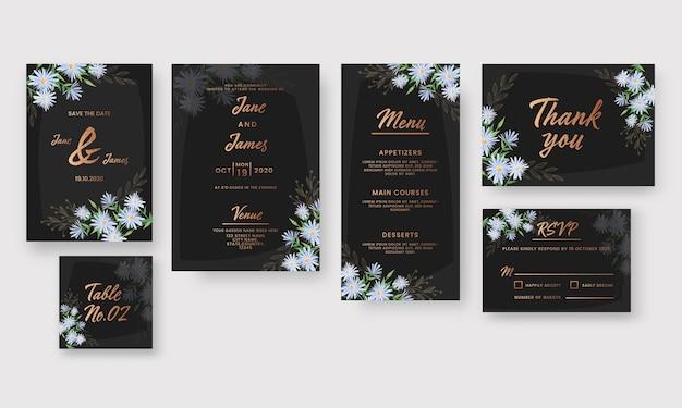 Hochzeitseinladungskarten-set verziert mit gänseblümchenblumen in der farbe schwarz und bronze.