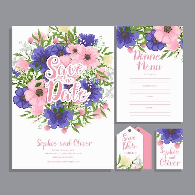 Hochzeitseinladungskarten-suite mit blumenvorlagen.