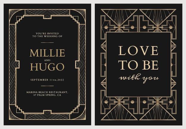 Hochzeitseinladungskarten-vektorschablone mit geometrischem art-deco-stil auf dunklem hintergrund