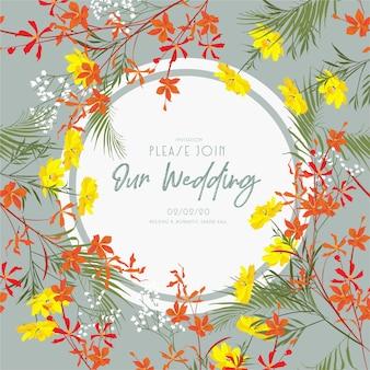 Hochzeitseinladungskartenrahmenentwurf mit garten- und wiesenblumen.