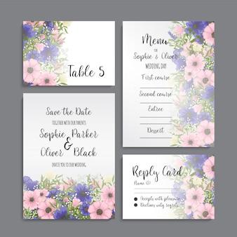 Hochzeitseinladungskartenreihe mit blumen. vorlage. vektor-illustration