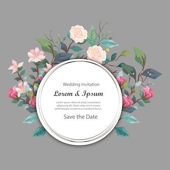 Hochzeitseinladungskartenrundschreiben mit blumen und blättern