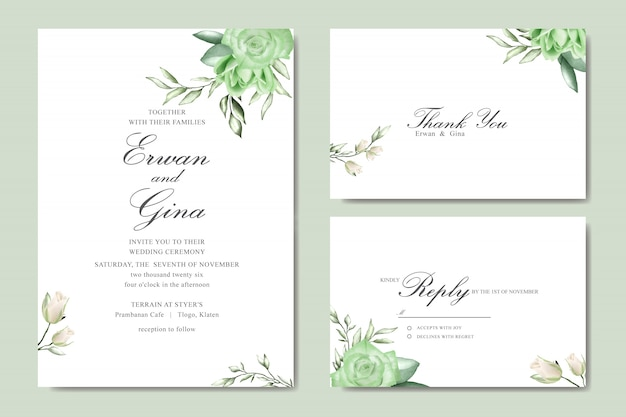 Hochzeitseinladungskartensatz mit aquarellblumen- und -blattschablone