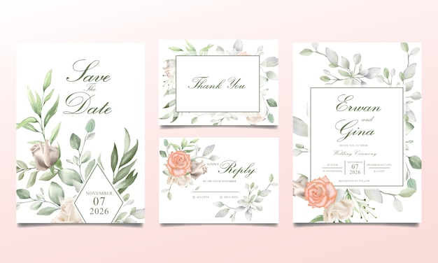 Hochzeitseinladungskartensatz mit dem aquarell mit blumen und blättern