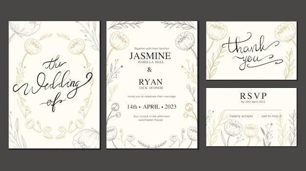 Hochzeitseinladungskartensatz mit hand gezeichneter blume und kranz