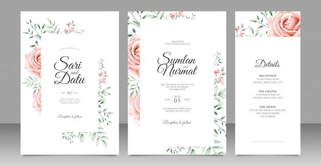 Hochzeitseinladungskartensatz mit schönem blumenrahmenaquarell