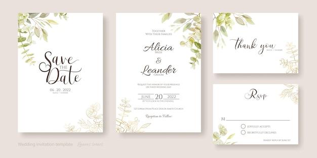 Hochzeitseinladungskartenschablone. aquarell und goldene blätter.