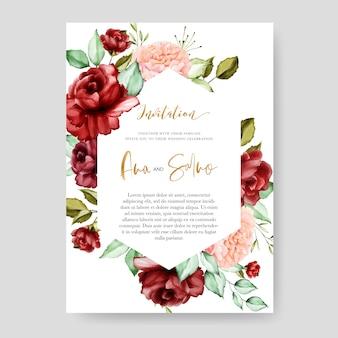 Hochzeitseinladungskartenschablone, aquarellblumenmuster