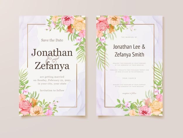 Hochzeitseinladungskartenschablone blumenvektordesign