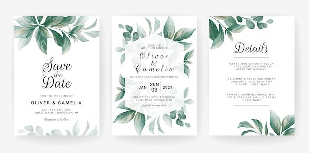 Hochzeitseinladungskartenschablone, die mit aquarellblattdekoration gesetzt wird.