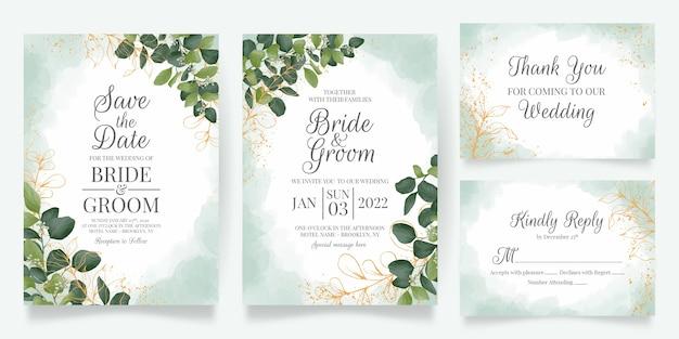 Hochzeitseinladungskartenschablone, die mit aquarellblattdekoration gesetzt wird