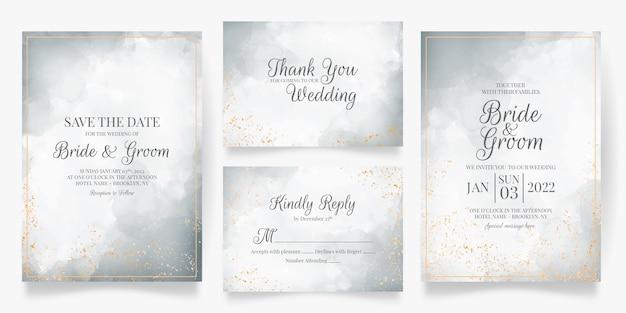 Hochzeitseinladungskartenschablone eingestellt mit aquarelldekoration
