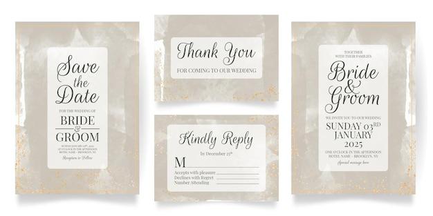 Hochzeitseinladungskartenschablone eingestellt mit aquarellhintergrund