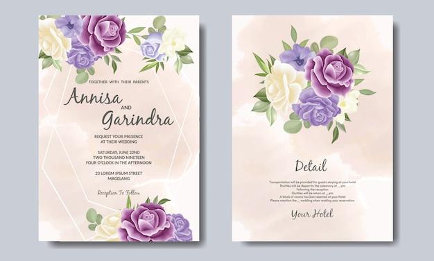 Hochzeitseinladungskartenschablone eingestellt mit lila blumenblättern premium-vektor