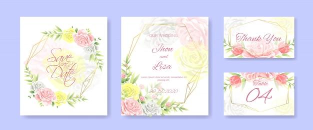 Hochzeitseinladungskartenschablone eingestellt mit schönen blumen
