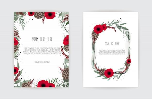 Hochzeitseinladungskartenschablone. eleganter rahmen mit rose und anemone