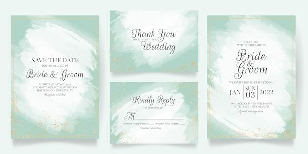 Hochzeitseinladungskartenschablone gesetzt mit abstraktem aquarellhintergrund