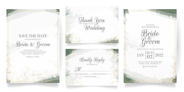 Hochzeitseinladungskartenschablone gesetzt mit abstrakter aquarelldekoration