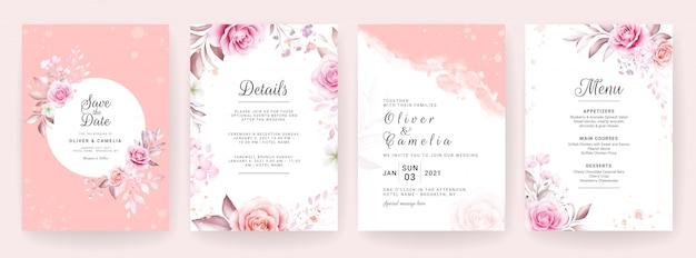 Hochzeitseinladungskartenschablone gesetzt mit aquarell und blumendekoration. blumenhintergrund zum speichern des datums, begrüßung, uawg, danke