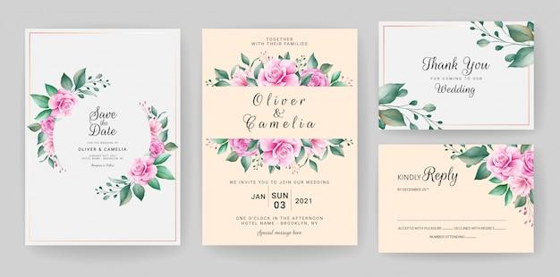 Hochzeitseinladungskartenschablone gesetzt mit aquarellblumenrahmen und grenze.