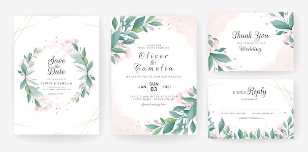 Hochzeitseinladungskartenschablone gesetzt mit blättern, kleine blumen