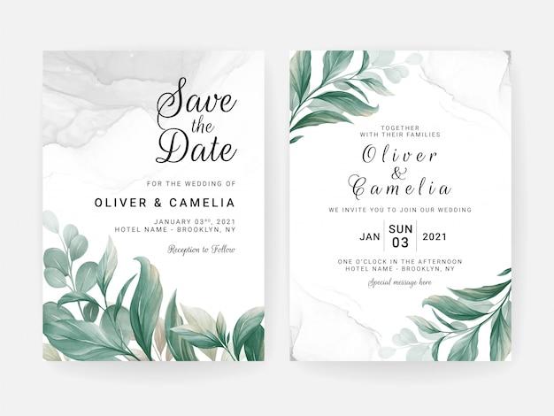 Hochzeitseinladungskartenschablone gesetzt mit blattdekoration und aquarell