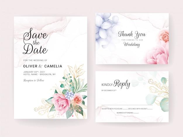 Hochzeitseinladungskartenschablone gesetzt mit goldaquarellblumendekorationen und glitzer.