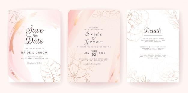 Hochzeitseinladungskartenschablone gesetzt mit goldaquarellspritzer und blumenlinie.