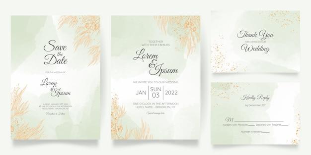 Hochzeitseinladungskartenschablone gesetzt mit goldener blumendekoration