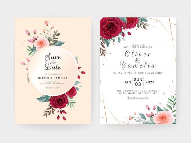 Hochzeitseinladungskartenschablone gesetzt mit luxusblumenrahmen, grenze, pastellhintergrund und goldlinie