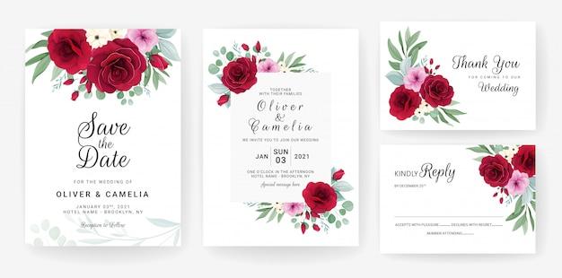 Hochzeitseinladungskartenschablone gesetzt mit rose, anemonenblumen und blättern