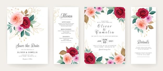 Hochzeitseinladungskartenschablone gesetzt mit rosen, anemonenblumen und blättern