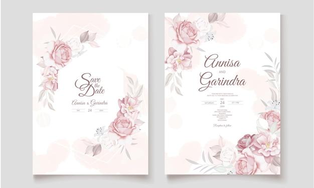 Hochzeitseinladungskartenschablone gesetzt mit schönen blumenblättern