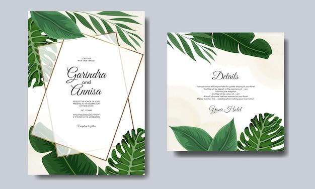 Hochzeitseinladungskartenschablone gesetzt mit tropischer blattdekoration
