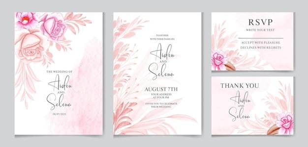 Hochzeitseinladungskartenschablone gesetzt mit weicher farbe rose blumen und blätter dekoration