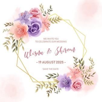 Hochzeitseinladungskartenschablone, goldener blumenrahmen des aquarells mit weinleseart