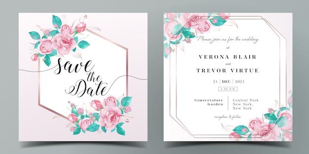 Hochzeitseinladungskartenschablone im rosa farbthema, das mit verziert wurde, stieg in aquarellart