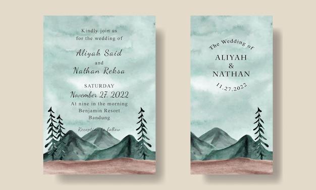 Hochzeitseinladungskartenschablone mit aquarell-grünem himmel-landschaftshintergrund