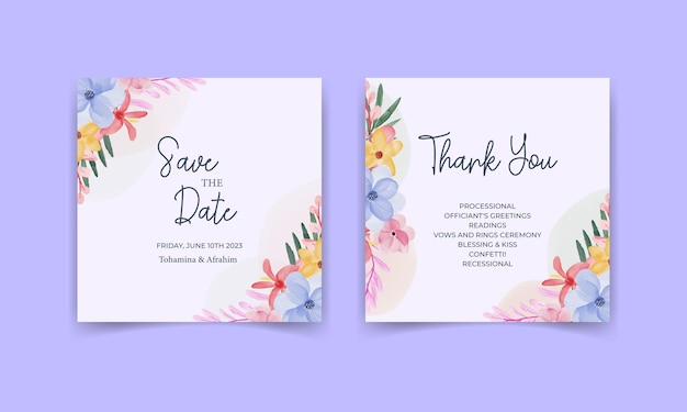 Hochzeitseinladungskartenschablone mit aquarellblättern und blumen