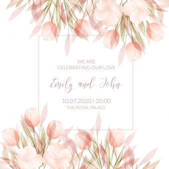 Hochzeitseinladungskartenschablone mit aquarellblumen