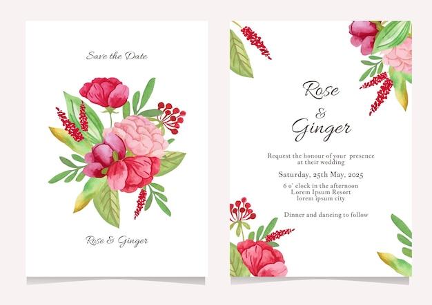 Hochzeitseinladungskartenschablone mit aquarellblumenvektor