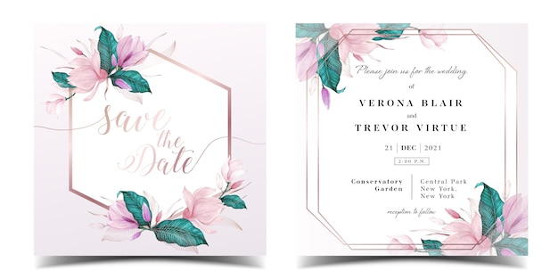 Hochzeitseinladungskartenschablone mit blumenaquarelldekoration