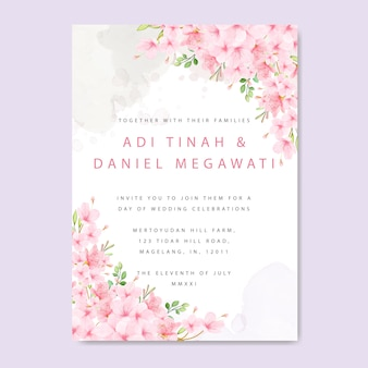 Hochzeitseinladungskartenschablone mit blumenkirschblüten-rahmen