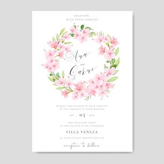 Hochzeitseinladungskartenschablone mit blumenkirschblütenentwurf