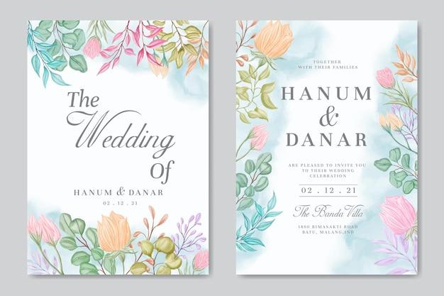 Hochzeitseinladungskartenschablone mit buntem aquarellblumenhintergrund