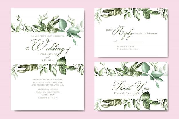 Hochzeitseinladungskartenschablone mit dem aquarell mit blumen und blättern