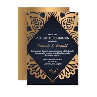 Hochzeitseinladungskartenschablone mit ethnischer art, orientalisches design