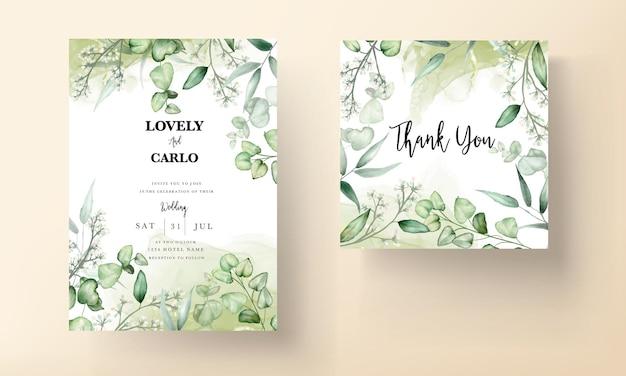 Hochzeitseinladungskartenschablone mit eukalyptusblättern aquarell